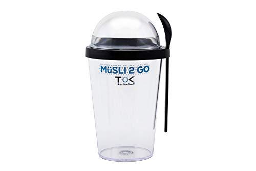 TOK Müslibecher 2 go/Joghurt to go Becher mit Löffel/komplett dicht, BPA frei, wiederverwendbar / 450 ml Becher & 150 ml Deckel/Reise-Müsli-Becher für den gesunden Snack unterwegs/Schwarz