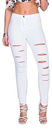 Celebriry Inspired Extreme Ripped Skinny Jeans UK Size 6-16 (UK 8 (EUR 36), White)