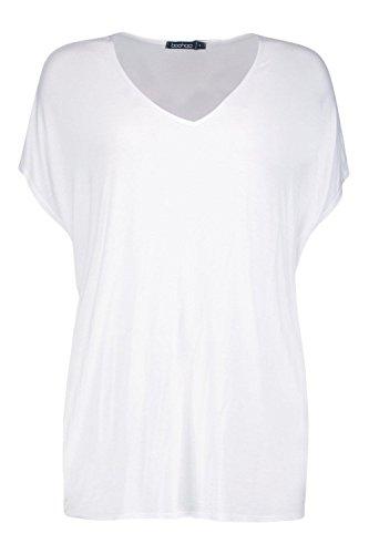 Damen Weiß Isobel Übergroßes T-shirt Mit V-ausschnitt Weiß