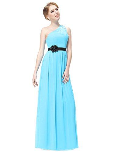 Ever Pretty Damen One Shoulder Blume Strass Partykleider 09870 Blau