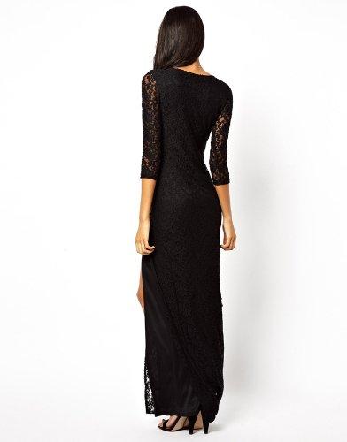 Robe De Soirée Pour Femme Et Filles Avec Col V Noir