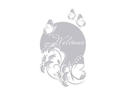 GRAZDesign 980217_30 Fenstertattoo Schriftzug Welcome mit Schmetterlinge | Fensteraufkleber für den Flur/Eingans-Tür (51x30cm)