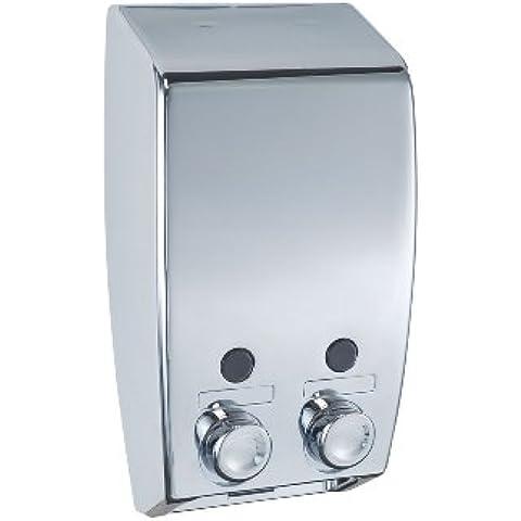 WENKO 18401100 Dispensador jabón Varese 2 depósitos,  2 x 0.45 L, Plástico, 13.5 x 25 x 8 cm,