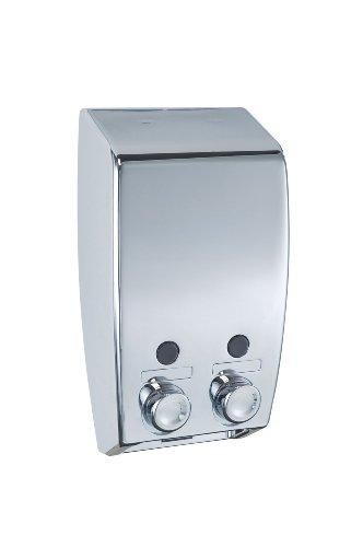 Wenko 18401100 Dispensador jabón Varese 2 depósitos, 2 x 0.45 L, Plástico, 13.5 x 25 x 8 cm, Cromo