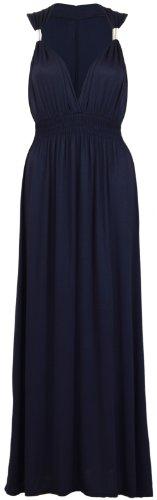 Neuf Femmes Long Extensible Femmes Col V Sans Manche Style Grecque Robe Longue Été Bleu Marine
