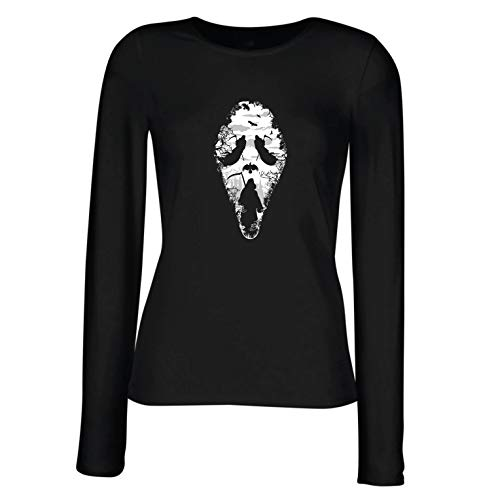 angen Ärmeln T-Shirt Tribal Sensenmann Schrei - Tod gruselig beängstigend (X-Large Schwarz Mehrfarben) ()