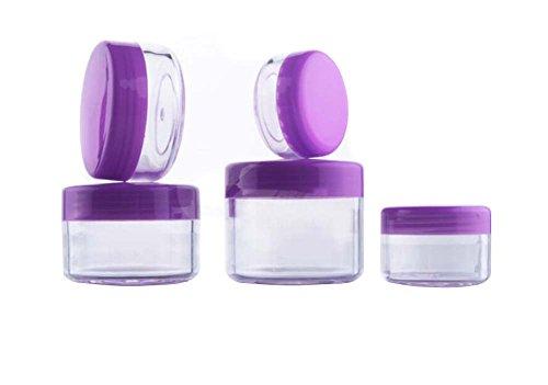 Lot de 12 3 ml/5ml/10Ml/15ml/20ml vide rechargeable Voyage Violet Pot de pot en plastique avec bouchon à visser Forme ronde Maquillage Crème pour le visage Baume à lèvres Fard à paupières Boîte de rangement cosmétique échantillons de conteneurs