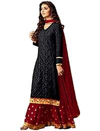 281378026e9dd3 MONIKA SILK MILL Women s Georgette Salwar Suit Material  (MSMFMaisha47001I Black   Red Free Size)