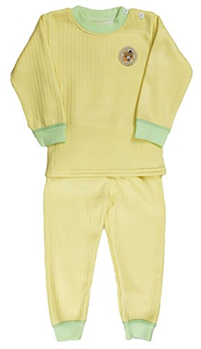 Miss U baby Boys High Quality Regular Comfort Fit full Sleeves Winter Wear Cotton Blend Top And Pyjama Set With Inner Fur (YELLOW GREEN, 70(4-5 Years))