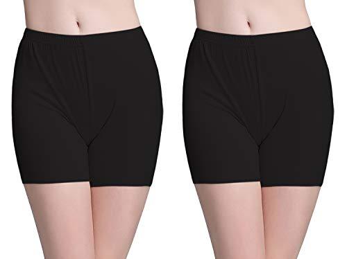 Vinconie Shorts Leggings Radlerhose Kurz Unterrock Shorts Knielange Kurze Hosen, 2 Pack: Schwarz & Schwarz, Small / (38 40) - Womens Stretch-baumwolle-yoga Pant