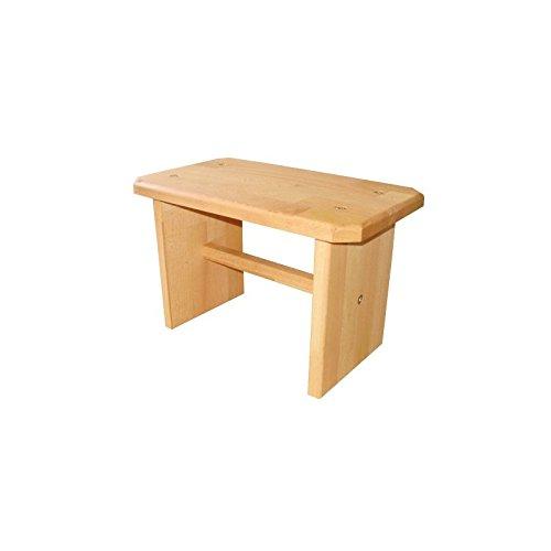 Stabiler Hocker/Schemel / Tritt, Fußbank aus Massivholz Buche Natur, echtes Holz
