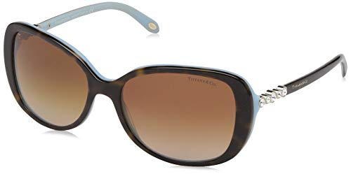 Tiffany & Co. Unisex TF4089B Victoria Collection Sonnenbrille, Braun (Havana Blue 81343B), One size (Herstellergröße: 58)