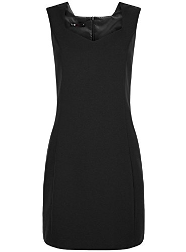 oodji Ultra Femme Basique en Tissu Épais avec Encolure en Forme de Сœur Noir (2900N)