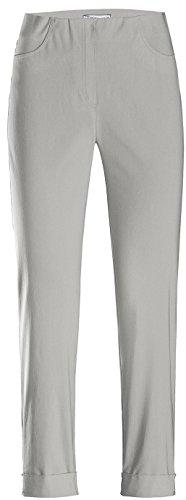 Stehmann IGOR-680 14060-951, sportive Damenhose mit aufgesetzten Taschen und Aufschlag, 6/8 Länge, Größe 42, Farbe Silber - Ck Ton