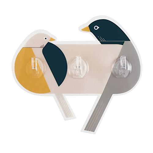 TOPBATHY 1 STÜCK Cartoon Vogel Wandhaken/Selbstklebende Kleiderbügel, Dekorative Lagerung Zu Hause, Geeignet für Mantel/Hut/Handtuch (3 Haken Design) -