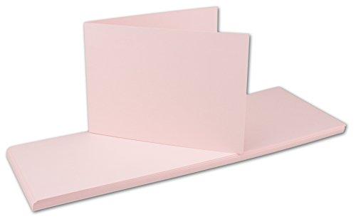 DIN A6 Faltkarten Doppelkarten   querdoppelt-langdoppelt   Rosa   50 Stück   Einladungskarten - Menükarten - Blanko   105 x 148 mm   formstabil   Printable für Drucker geeignet   PREMIUM Qualitätsmarke: NEUSER FarbenFroh (Rosa Umschläge Und Blanko-karten)