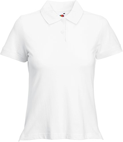 Fruit Of The Loom Damen/Frauen Kurzarm Polo Shirt (M) (Weiß) M,Weiß