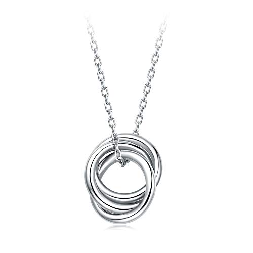 BlingGem Necklace 3 Generation White Gold Plated Sterling Silver 925 Necklace for Woman Gift for Grandmother Mother Daughter Jewelry for Valentine's Day