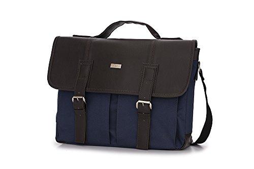 Solier Leder Herren Schulter Laptop Tasche Premium LANARK S14 Braun / Blau
