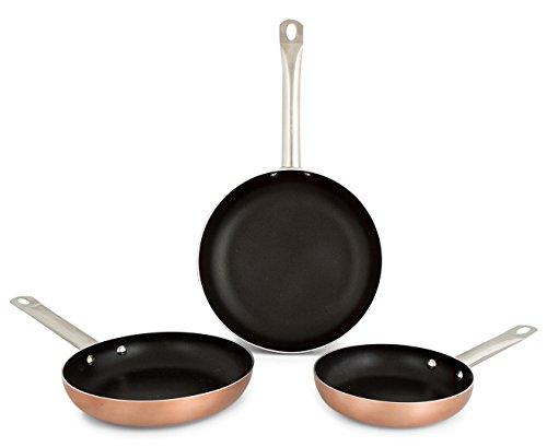 Bergner Professional Chef Copper Sartenes, Aluminio, Dorado, 28 cm, 3 Unidades