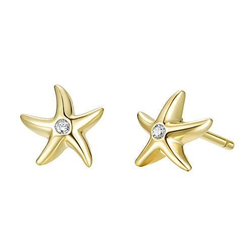 Seestern Ohrringe Ohrstecker Klein für Damen Mädchen mit 925 Sterling Silber Gelb Vergoldet - Durchmesser: 8 mm