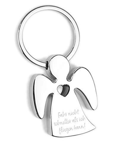 Schlüsselanhänger Fahr nicht schneller als ich fliegen kann! - Metall verchromt mit Herz und hochwertiger Lasergravur inkl. schöner Geschenkbox - Glücksbringer Talisman fürs Auto, Reise