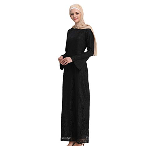 Muslimische Kleider PANPANY, Muslimisches Spitze Kleid für Damen, Naher Osten Abaya Islamische...
