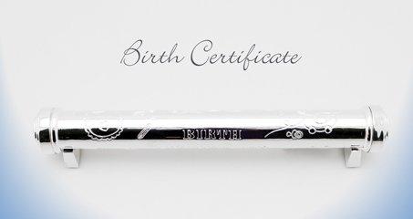 support-certificat-naissance-plaque-argent