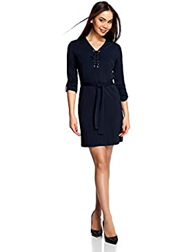 oodji Collection Damen Jerseykleid mit Gürtel