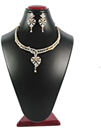 Joovaa American Diamond CZ Gold Plated Designer Choker Necklace Set With Chain And Earring For Women