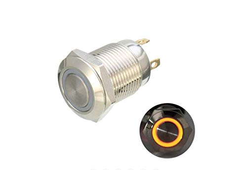 ChaRLes DC 12V 12mm 4 Pin momentane Switch LED Light Metal Push Button WasserDichter Schalter - Gelb