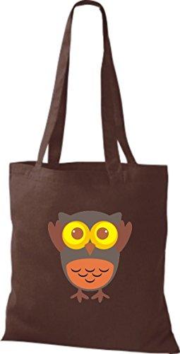 ShirtInStyle Jute Stoffbeutel Bunte Eule niedliche Tragetasche mit Punkte Owl Retro diverse Farbe, braun
