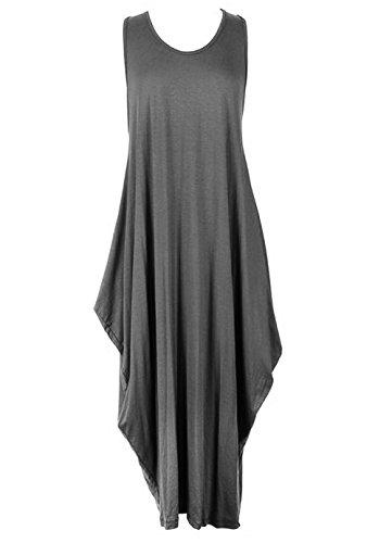 Janisramone - Robe - Uni - Sans Manche - Femme * taille unique Charbon
