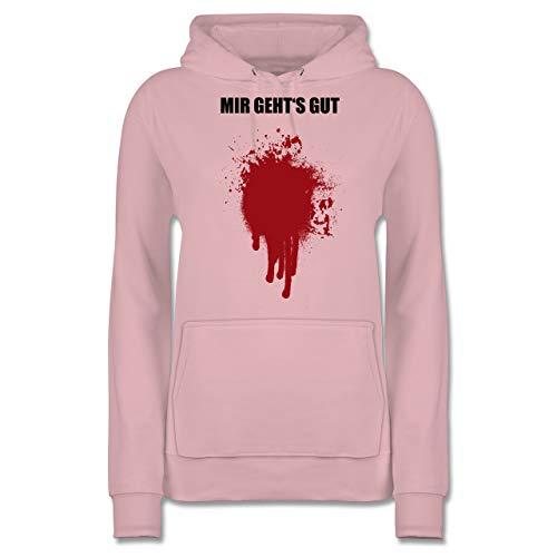 Shirtracer Halloween - Mir geht's gut Blutfleck Kostüm - M - Hellrosa - JH001F - Damen Hoodie Blut Hoody