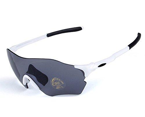 Wfkjj Outdoor Sports Radfahren, Polarisierte Sonnenbrille, Männer und Frauen Reiten Wind Schild Brille, Weiß Schwarz Grau Objektiv