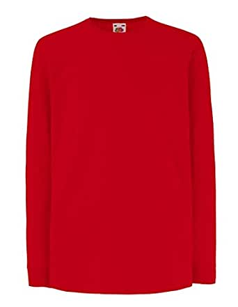 Fruit of the Loom: Kids` LS Valueweight T 61-007-0, Größe:104 (3-4);Farbe:Red