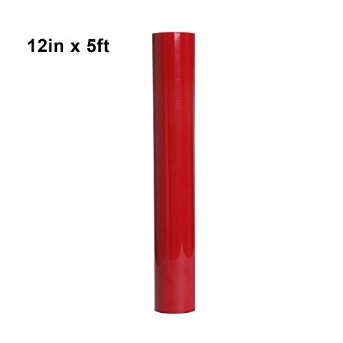 DesignerBox HTV-Rollen für T-Shirts, 30,5 x 152 cm, Vinyl, zum Aufbügeln, geeignet für Silhouette Cameo, Heat Press & Cricut Maschinen rot (T-shirt Vinyl-cutter-maschine)