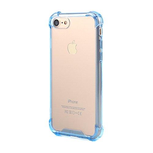 Boriyuan IPhone 7 Hülle TPU Case Bumper Rückschale für IPhone 7 4.7 Zoll Schutzhülle transparent (Grau) Blau