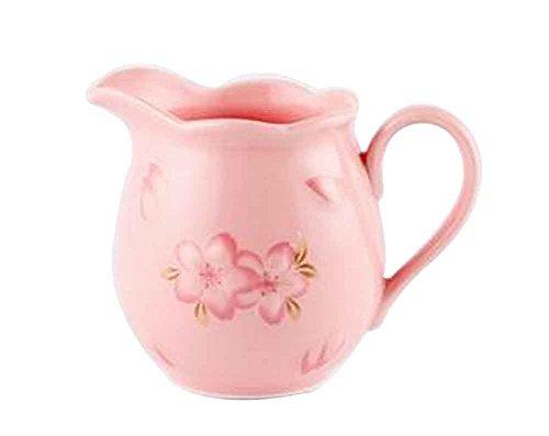 Japanischer Keramikmilch Topf mit Griff, Kirschmuster [Rosa]