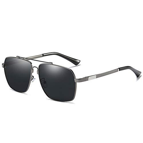 Gläser Brille Memory Beam Spring Leg Polarisierte Sonnenbrille Blaue Film Square Sonnenbrille Brillen (Color : 02Dark Sliver, Size : Kostenlos)