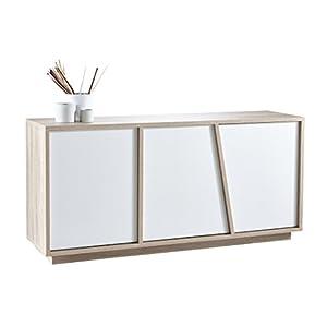 """Demeyere 223489 Anrichte 3 Türig """"NATURE"""", Holz, sonoma eiche/weiß, 158 x 42 x 75 cm"""