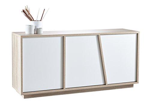 Demeyere Nature Enfilade 3 Portes ouvrantes Coloris Blanc Perle et chêne brossé, Panneau Particule, 157,8x42,3x74,5 cm