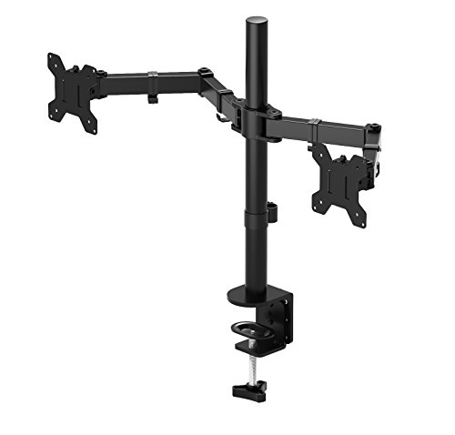 "1home Double Twin Arm Desk Mount TV LCD Monitor Computer Screen Bracket Dual 13""-27"""