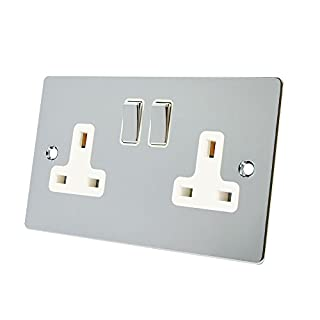 Alliance Electrical FPC2GSOCWC 13 A 2 Gang White Insert Double Plug Socket Flat Metal Rocker Switch - Polished Chrome