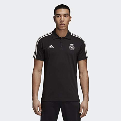 adidas 2018-2019 Real Madrid 3S Polo Football Soccer T-Shirt Trikot (Black)