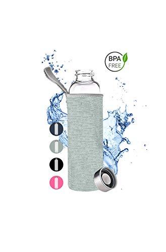 PaWa Glasflasche Trinkflasche für unterwegs - 550ml BPA-FREI für Sport und Freizeit mit Neopren Schutz (grau)