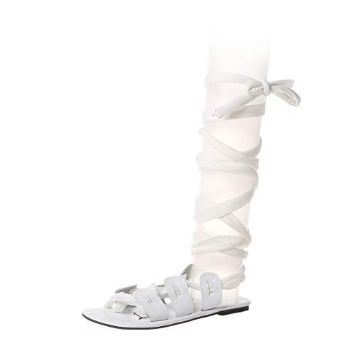Sandalen Zum Schnüren Damen Sommer Zehentrenner Flach Elegant Schuhe Frauen Offen Vintage Sommersandalen