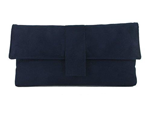 Fab großen Faux Wildleder Clutch Bag/Umhängetasche Navy-dunkelblau -