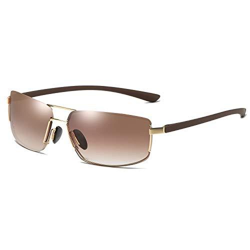 Quadratische Sonnenbrille Herren Sonnenbrille Rahmenlose Vintage Sonnenbrille Brille (Color : Braun, Size : Kostenlos)