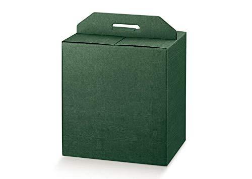 5 scatole verde robusta cm.28x20x35h strenne natalizie fino a 7 kg cartone accoppiato e maniglia est